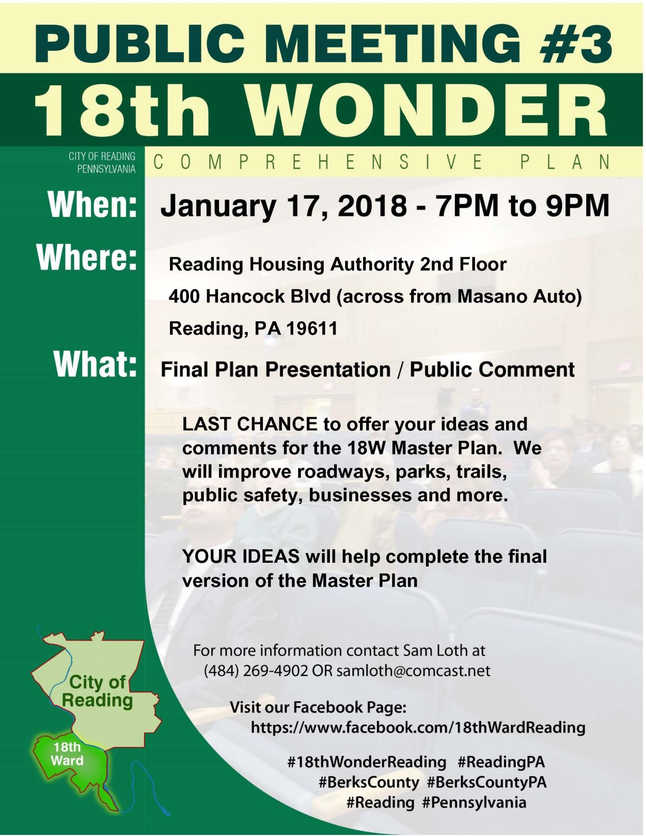 18th Ward Public Meeting #3, Final Draft Master Plan will be
